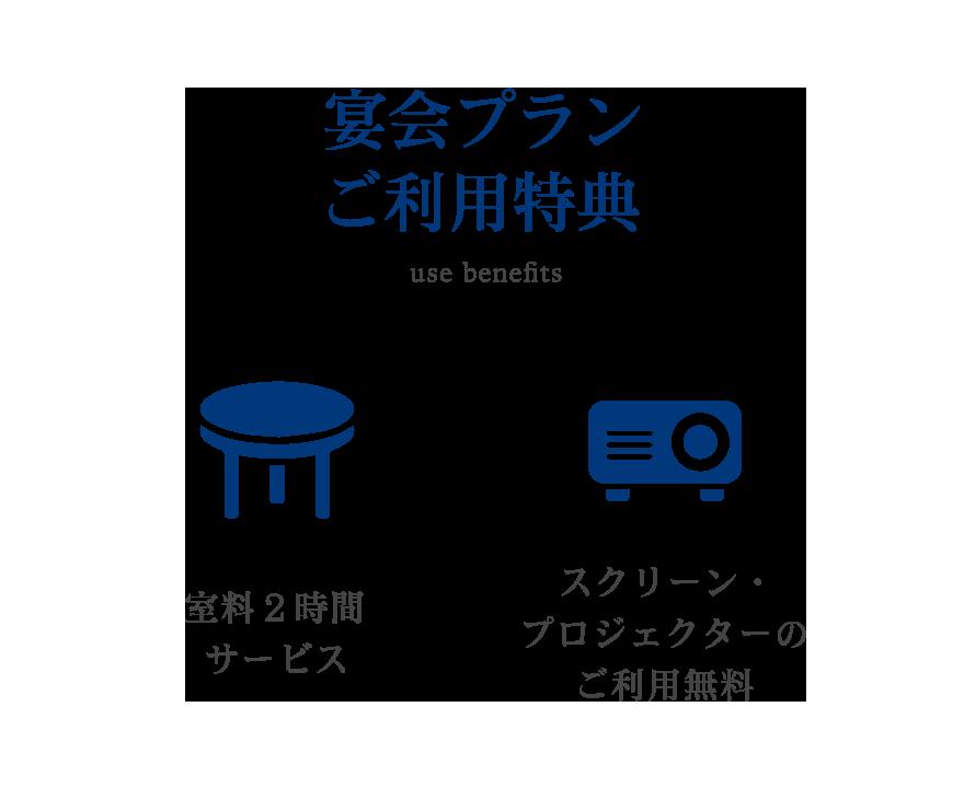 【宴会プランご利用特典】室料2時間サービス/スクリーン・プロジェクターのご利用無料
